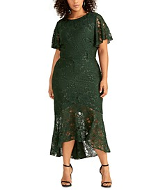 Plus Size Sparkle Stretch Lace Dress
