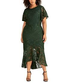 RACHEL Rachel Roy Plus Size Sparkle Stretch Lace Dress