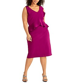 Plus Size Asymmetrical Ruffle-Trim Dress