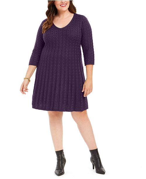 Jessica Howard Plus Size Cable-Knit Sweater Dress