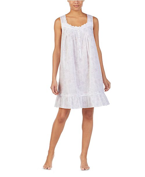 Eileen West Cotton Lace Trim Chemise Nightgown