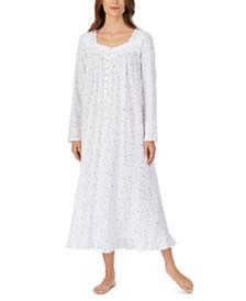 Eileen West Cotton Ballet Lace Trim Floral-Print Nightgown