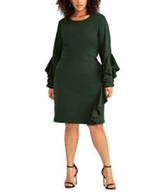 RACHEL Rachel Roy Plus Size Ruffled Sheath Dress
