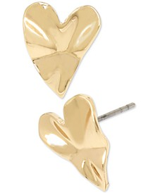 Gold-Tone Crinkle Heart Stud Earrings