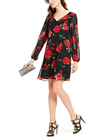 INC Rose-Print Chiffon Bow-Back Dress, Created For Macy's