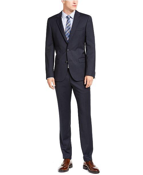 Hugo Boss HUGO Hugo Boss Men's Slim-Ft Navy Blue Stripe Suit Separates