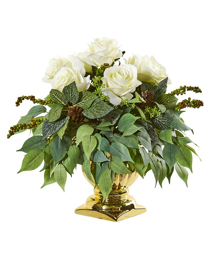 """Nearly Natural - 14"""" Rose Artificial Arrangement in Gold Urn"""