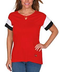 UG Apparel Women's Louisville Cardinals Crisscross Colorblocked T-Shirt