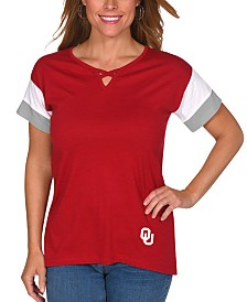 UG Apparel Women's Oklahoma Sooners Crisscross Colorblocked T-Shirt