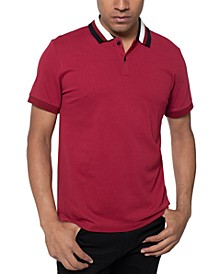 Men's Striped-Collar Polo