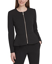 Zippered Peplum-Hem Blazer