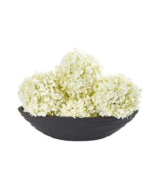 Nearly Natural Artificial Hydrangea Balls, Set of 4 with Decorative Vase