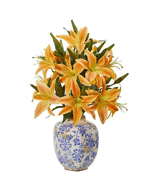 Nearly Natural Lily Artificial Arrangement in Decorative Vase