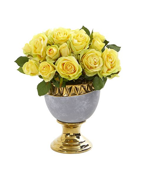 Nearly Natural Rose Artificial Arrangement in Urn with Gold Trimming