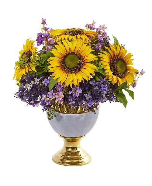 Nearly Natural Sunflower and Lilac Artificial Arrangement in Stoneware Urn with Gold Trimming