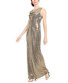 Sequined Cowlneck Gown