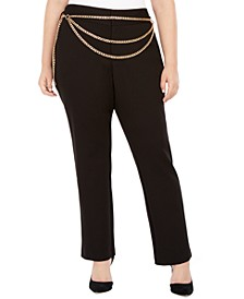INC Plus Size Chain Belt Pants, Created For Macy's