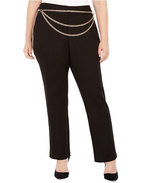 INC International Concepts INC Plus Size Chain Belt Pants, Created For Macy's