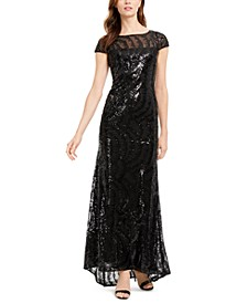 Cap-Sleeve Sequined V-Back Gown