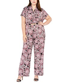 Plus Size Pleated-Front Belted Printed Jumpsuit
