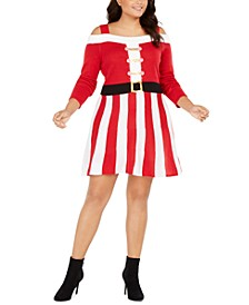Trendy Plus Size Cold-Shoulder Santa Dress