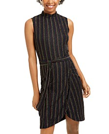 Juniors' Metallic-Stripe Sheath Dress