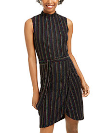 City Studios Juniors' Metallic-Stripe Sheath Dress