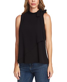 Vince Camuto Tiered Tie-Neck Sleeveless Blouse