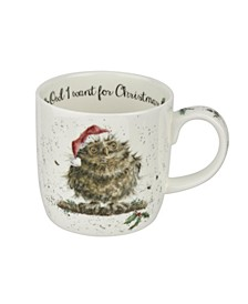 Wrendale Owl I want for Christmas Mug, Set of 6