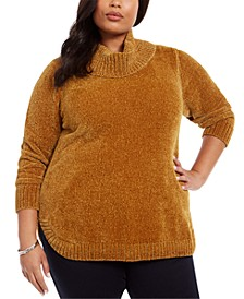 Plus Size Cowl-Neck Chenille Sweater, Created for Macy's