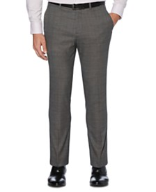 Perry Ellis Portfolio Men's Extra Slim-Fit Stretch Tonal Heathered Plaid Dress Pants