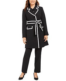 Topper-Jacket Straight-Leg Pants Suit