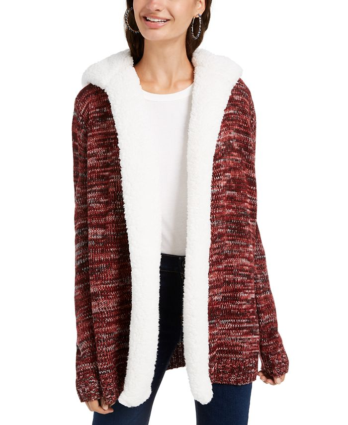 Crave Fame - Juniors' Lined Knit Hooded Cardigan