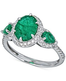 Emerald (2-1/2 ct. t.w.) & Diamond (1/4 ct. t.w.) Statement Ring in 14k White Gold