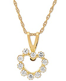 "Swarovski Zirconia Open Heart 18"" Pendant Necklace in 14k Gold"