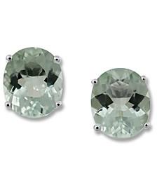 Aquamarine (1-3/4 ct. t.w.) & Diamond (1/20 ct. t.w.) Stud Earrings in 14k White Gold