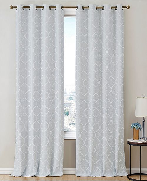 HLC.me Obscura by Mackay Lattice Flocked 100% Blackout Grommet Curtain Panels - 50 W x 63 L - Set of 2