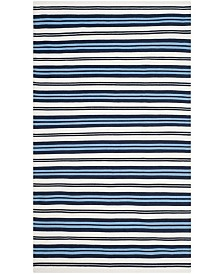 Leopold Stripe LRL2462B White and French Blue Area Rug Collection