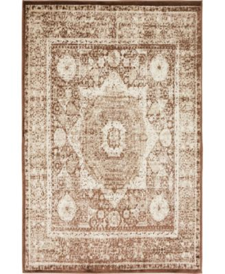 Linport Lin7 Chocolate Brown 2' x 6' Runner Area Rug
