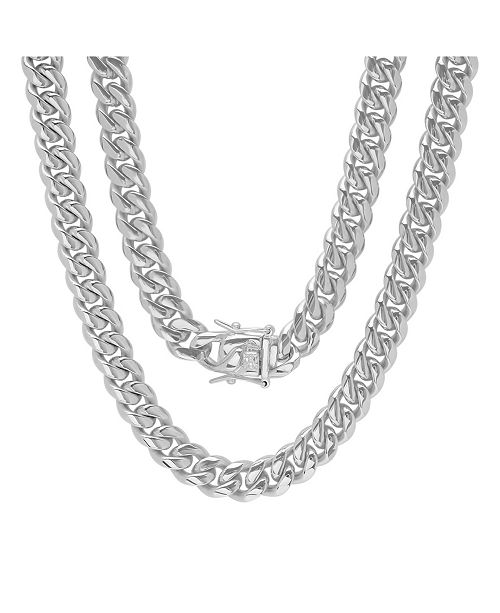 "STEELTIME Men's Stainless Steel 30"" Miami Cuban Link Chain with 10mm Box Clasp Necklaces"