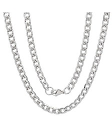 "Steeltime Men's Stainless Steel Accented 6mm Cuban Chain 24"" Necklaces"