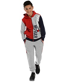 Big Boys Lawrence Colorblocked Logo Hoodie & Beau Side Stripe Fleece Sweatpants