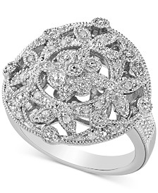 Diamond Floral Openwork Statement Ring (1/6 ct. t.w.) in Sterling Silver