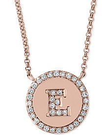 """EFFY® Diamond Initial Pendant Necklace (1/6 ct. t.w.) in 14k Rose Gold, 16"""" + 2"""" extender"""