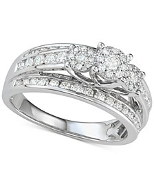Diamond Two-Row Tri-Cluster Engagement Ring (1 ct. t.w.) in 14k White Gold