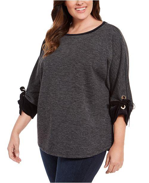 Charter Club Plus Size Tied-Cuff Sweatshirt, Created For Macy's