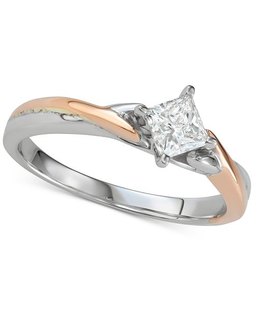 Macy's Diamond Princess Twist Engagement Ring (1/2 ct. t.w.) in 14k White & Rose Gold