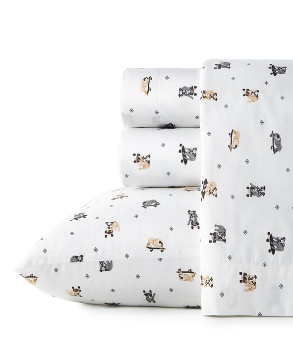 Poppy & Fritz Skateboarding Bulldogs Twin Sheet Set