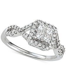 Diamond Princess Cluster Twist Engagement Ring (3/4 ct. t.w.) in 14k White Gold