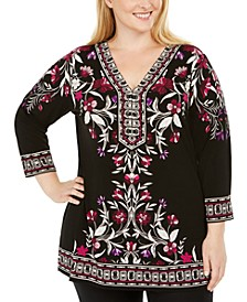 Plus Size Printed Embelished Top, Created For Macy's
